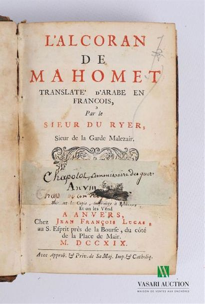 RYER Sieur du - L'Alcoran de Mahomet translate...