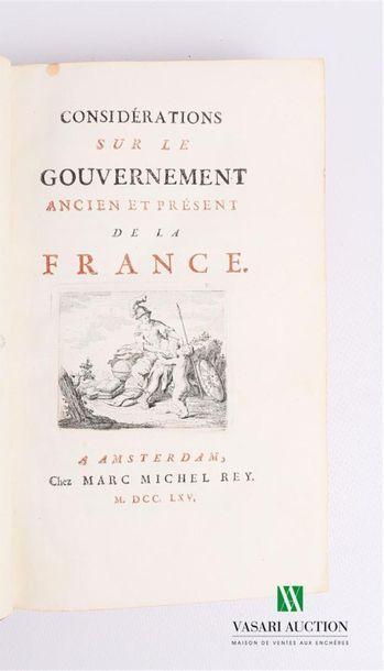 ARGENSON René Louis Voyer d' - Considérations...