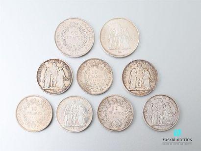 Lot de sept pièces de 10 Francs, République...