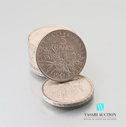 Lot de 10 pièces de 5 francs argent, République...