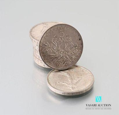 Lot de dix pièces de 5 francs argent, République...