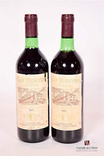 2 bouteillesCLOS MAZEYRESPomerol1985  Et....
