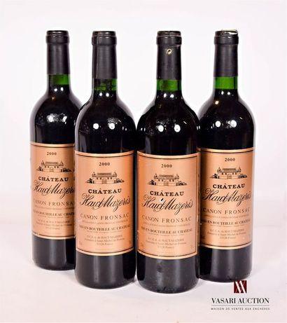 4 bouteillesChâteau HAUT MAZERISCanon Fronsac2000...