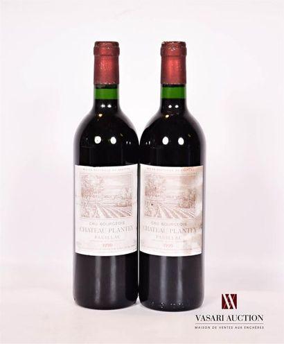 2 bouteillesChâteau PLANTEYPauillac CB1990...