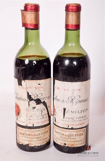 2 bouteillesCHÂTEAU RIPEAUSt Emilion1953...
