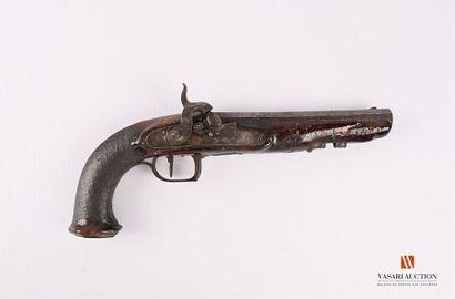 Pistolet d'officier, platine à silex transformée...