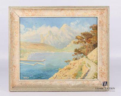 MERLE (XXèmes siècle) Vue de port en Méditerrannée...