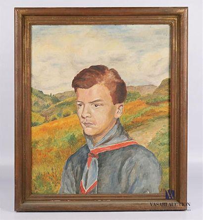 JB (XXème siècle) Portrait de scout Huile...