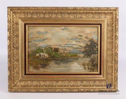 HENTE Barque sur un étang Huile sur toile...
