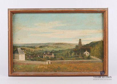 Ecole du XXème siècle Vue de vallon au clocher...