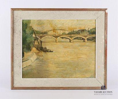 Ecole française du XXème siècle Vue fluviale...