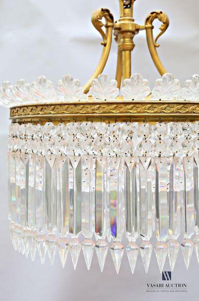 BACCARAT Lustre formant une couronne à neuf lumières, la monture en bronze présente...