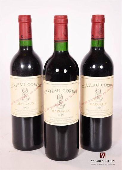 3 bouteillesChâteau CORDETMargaux1995...