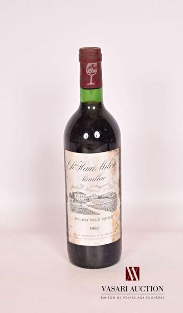 1 bouteilleChâteau HAUT MILONPauillac1983...