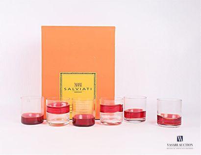 SALVIATI Suite de six verres à whisky en...