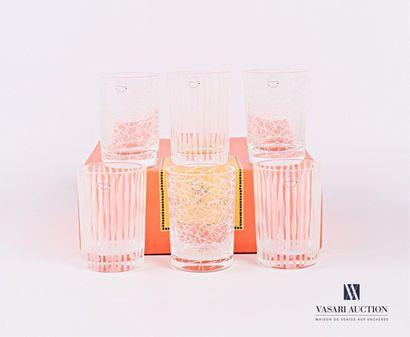 SALVIATI Suite de six porte-bougies en verre,...