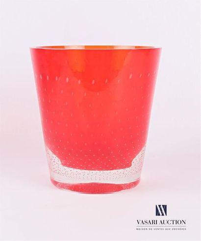 SALVIATI Seau à champagne en verre fumé rouge...