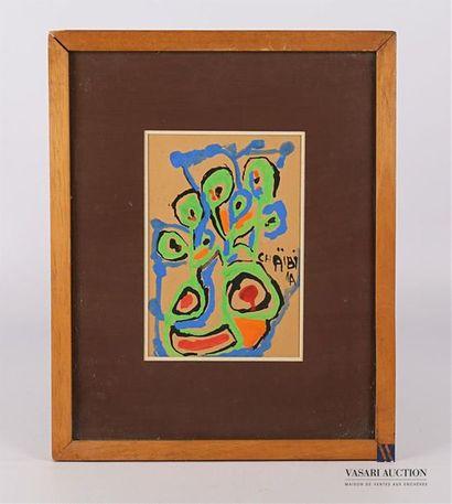 CHAIBIA (1929-2004) Jardin Gouache sur carton...