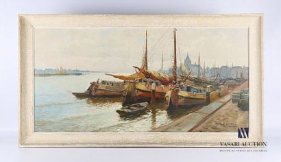 TERLOUW Kees (1890-1948) Bateaux amarrés...