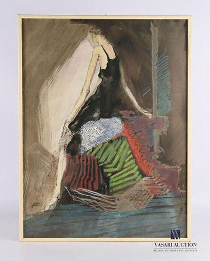 GRAND Claude (XXème siècle) Femme assise...