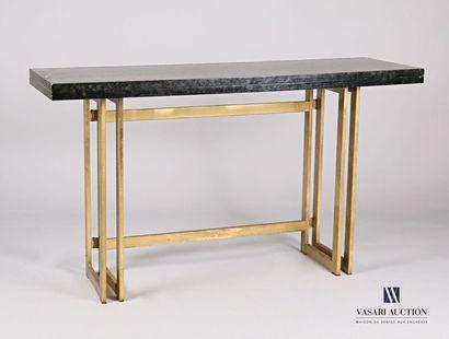 Console formant table, le plateau en bois...