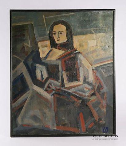École moderne Femme cubiste Huile sur toile...
