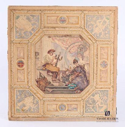 TOCHÉ Charles (1851-1916) Projet de plafond...