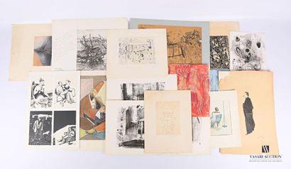 Lot de dessins, estampes et estampes comprenant...