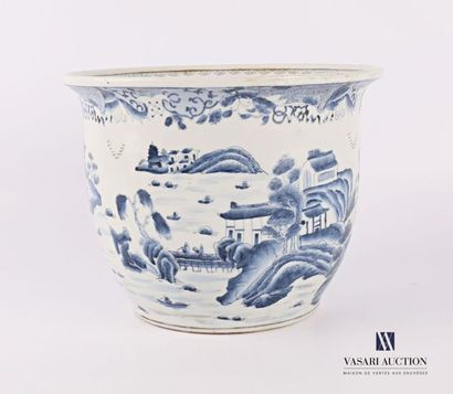 CHINE Cache-pot en pot en porcelaine à décor...