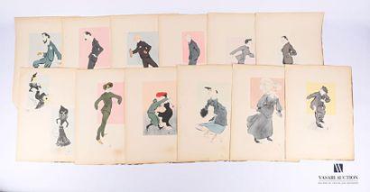 Lot de vingt-trois reproductions en feuille...
