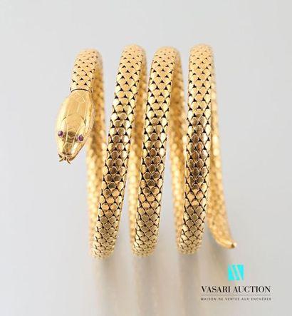 Bracelet serpent Napoléon III en or jaune 750 millièmes le corps souple à quatre...
