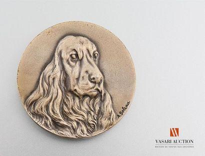 Médaille de table, figure cannine, gravée...