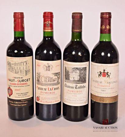 Lot de 4 bouteilles comprenant : 1 bouteilleChâteau...