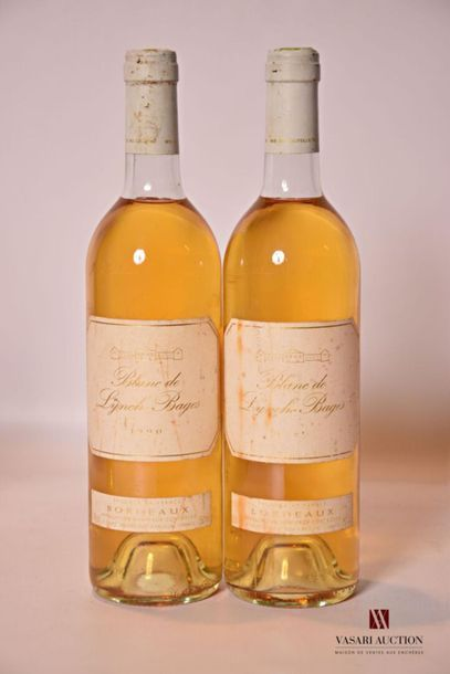 2 bouteillesBLANC DE LYNCH BAGESBordeaux1990...