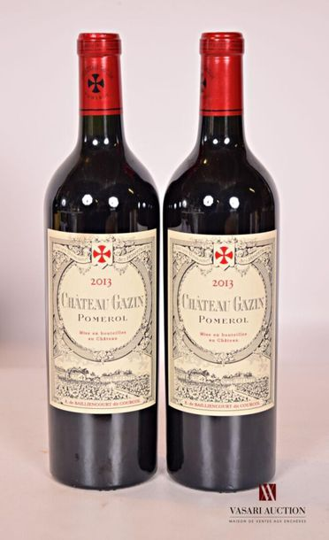 *2 bouteillesChâteau GAZINPomerol2013...