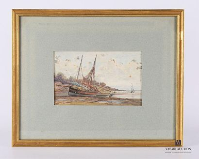 Eugène VERGEZ (1846-?)  Bateaux échoués  Aquarelle...