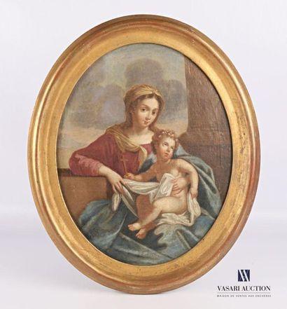 Ecole française du XIXème siècle  La Vierge...