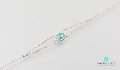 Bracelet à motif ovale avec chainette en...