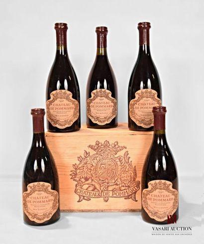 5 bouteillesPOMMARD mise du Château de Pommard1990...