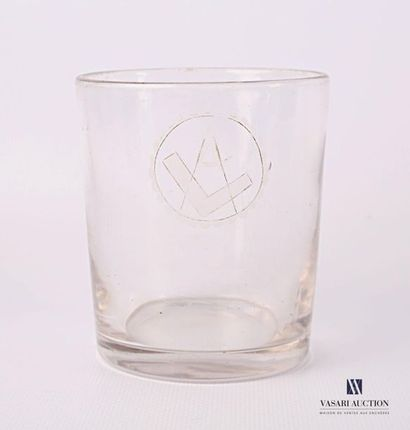 Verre à whisky en verre à fond plat à décor...