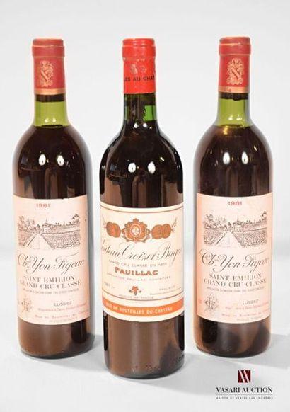 Lot de 3 bouteilles comprenant : 1 bouteilleChâteau...