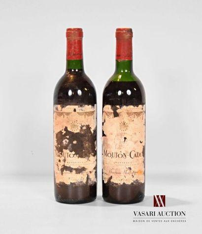 2 bouteillesMOUTON CADETBordeaux mise nég.1987...