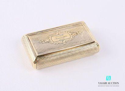 Tabatière en argent doré de forme rectangulaire,...