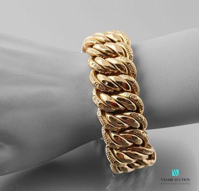 Bracelet en or jaune 750 millièmes maille américaine 83,9 g - Longueur : 20 cm -...