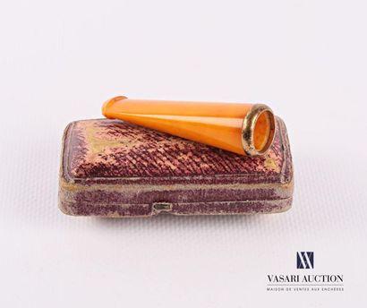 Fume cigarette en ambre et argent doré 800...
