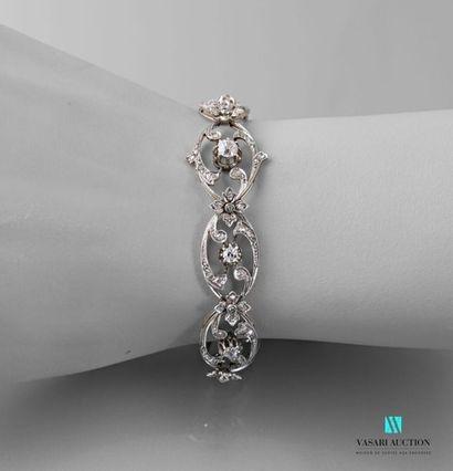 Bracelet souple Belle époque en or gris 750...