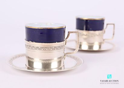 Paire de tasse à café en porcelaine bleu...