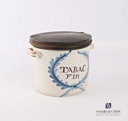 Pot à tabac marqué Tabac Fin en faïence,...