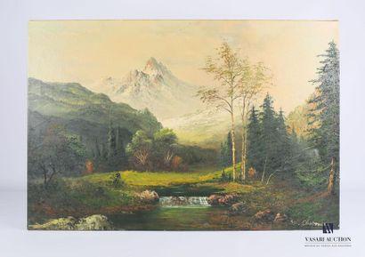 CHAPAM W. (XXème siècle) Rivière dans un...
