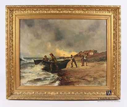 MILON (XXème siècle) Retour de pêche Huile...